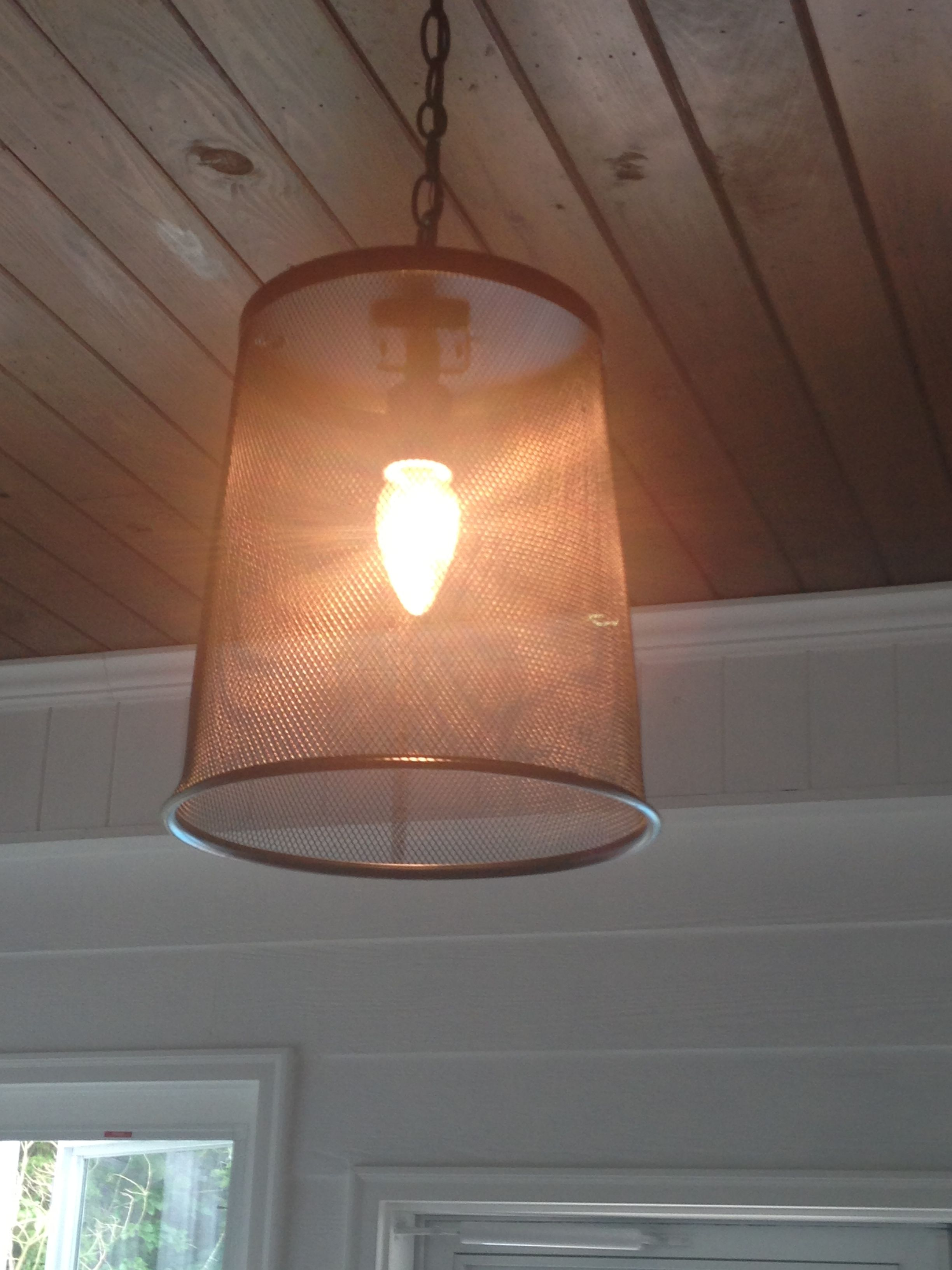 4 Trash Can From Big Lots And Repurposed Light Fixture Equals New Porch Light Light Fixtures Porch Lighting Porch Decorating