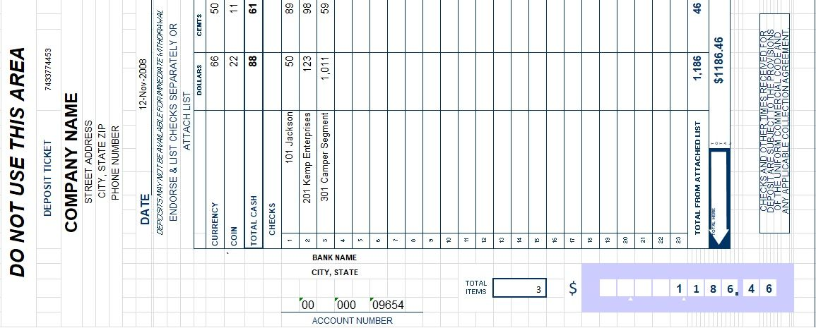 Bank Deposit Slip Template Excel  Invoice Templates