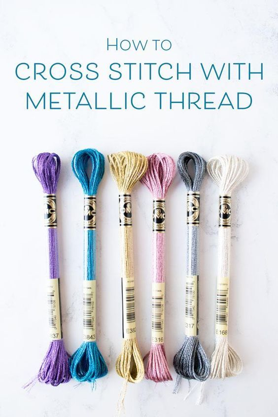 Photo of How to cross stitch with DMC metallic embroidery floss