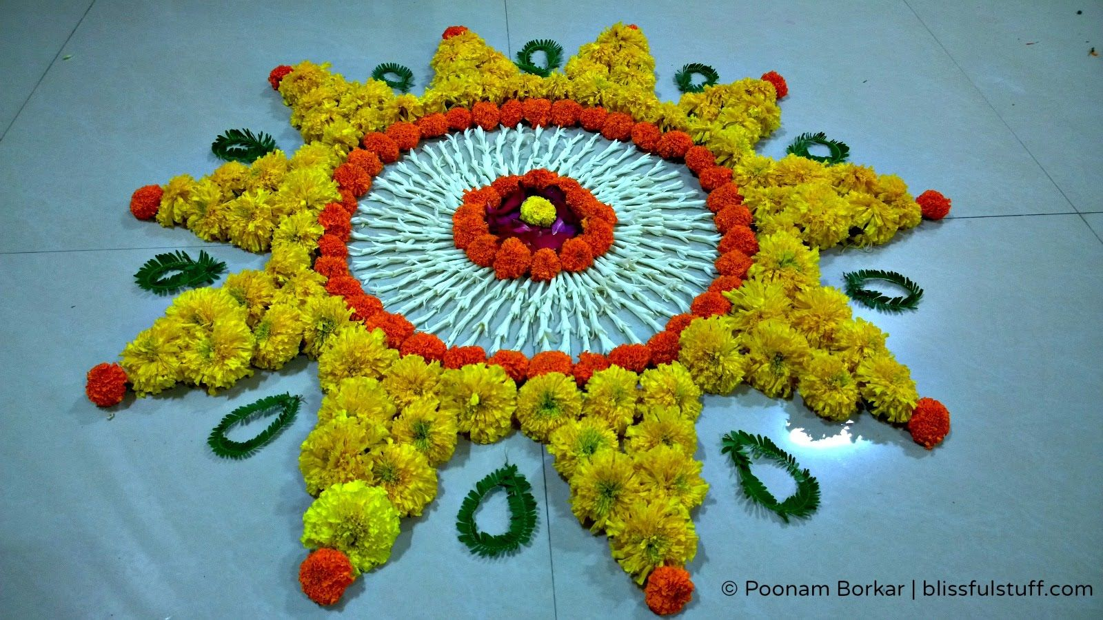 Diwali Special Rangoli Design with marigold flowers, How