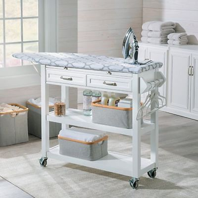 Portable Ironing Board Center Station Storage Cart With Baskets Laundry Room #laundryrooms