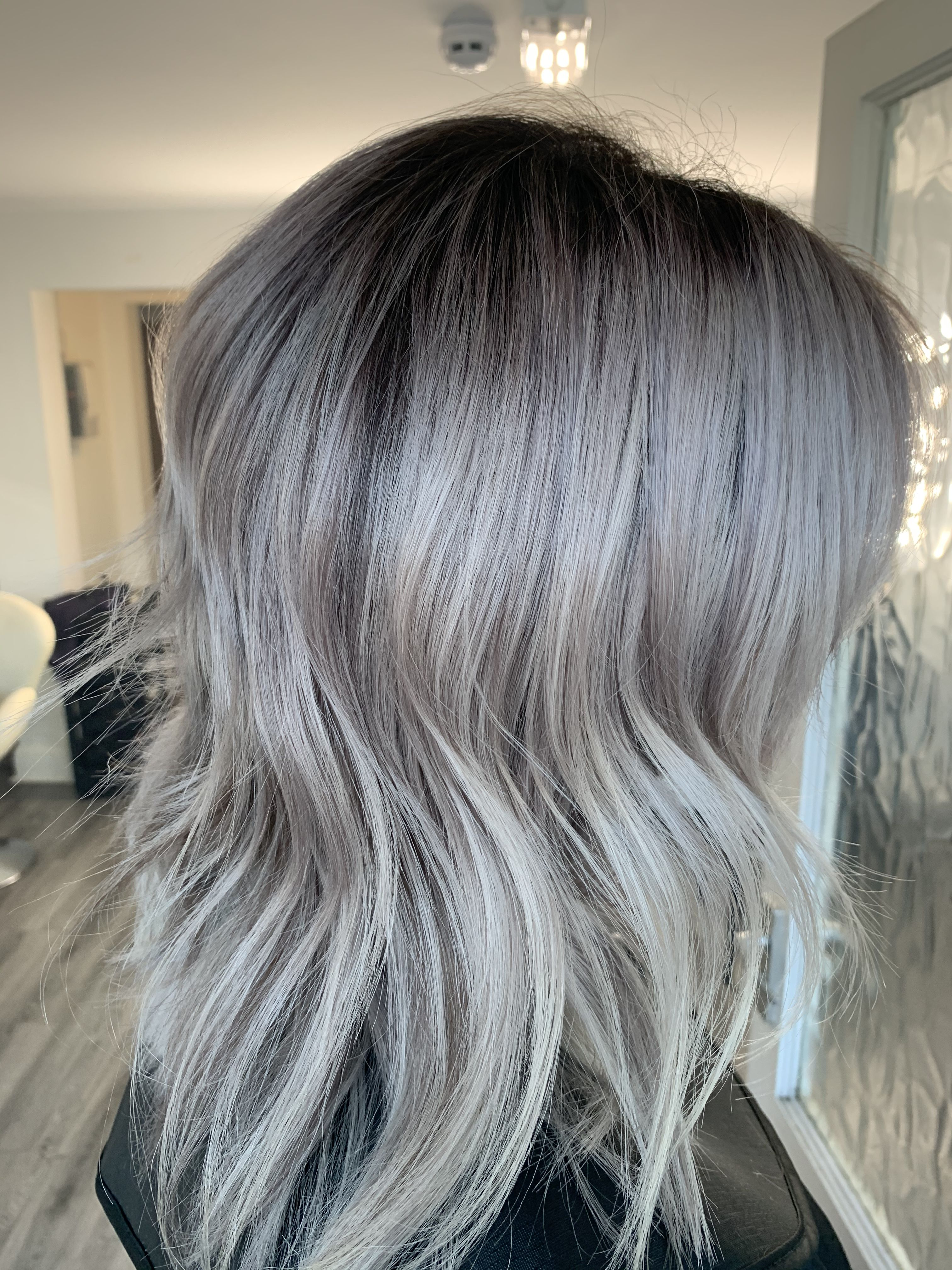 Smokey Amethyst Silver Blonde Hair Grey Blonde Hair Grey Hair Roots