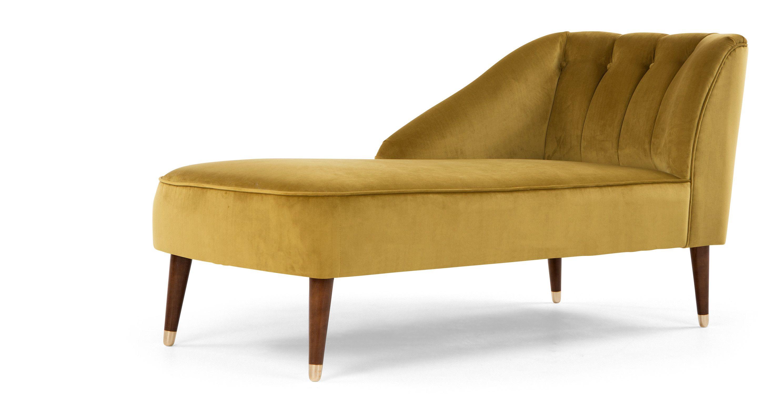 Margot Left Hand Facing Chaise, Antique Gold Velvet made