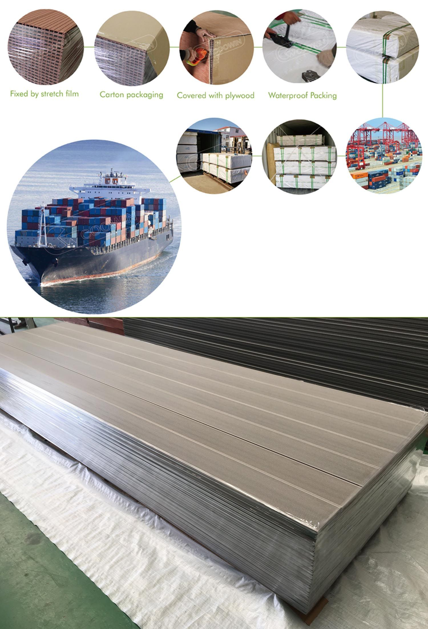 Wpc Decking Packaging Shipping 1 Fixed By Stretch Film 2 Carton Packaging 3 Covered With Plywood 4 Waterproo Outdoor Wall Panels Outdoor Flooring Wpc Decking
