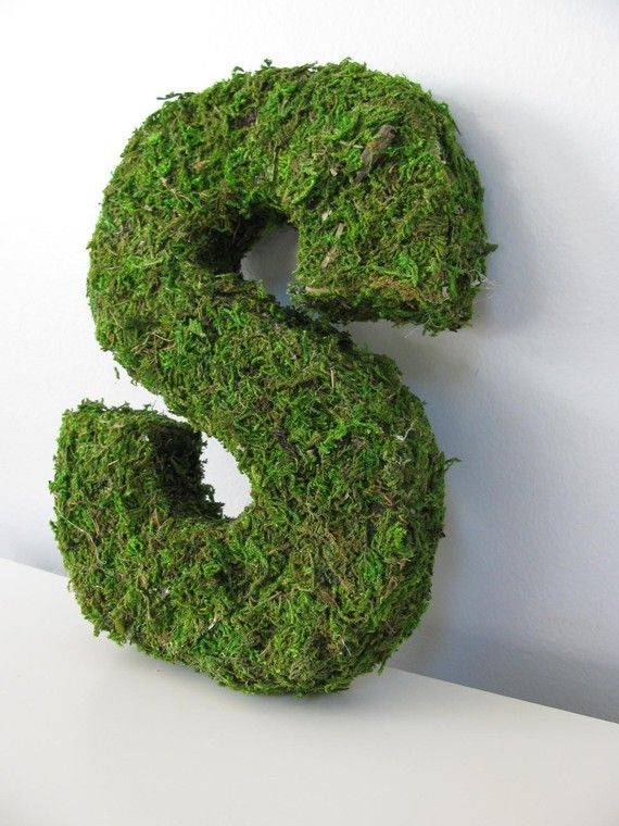 moss covered letters. cool for an eco room