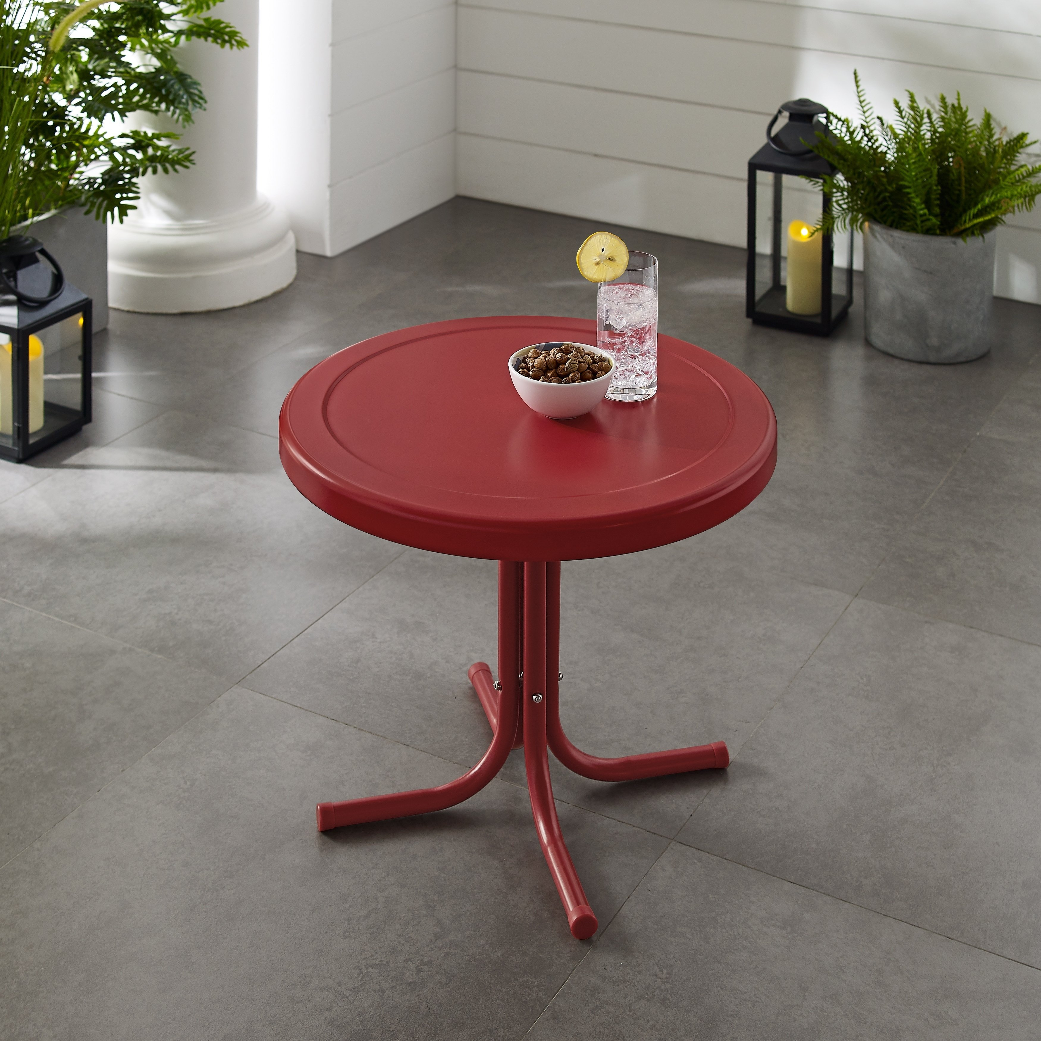 Havenside Home Retro Metal Side Table In Red Products