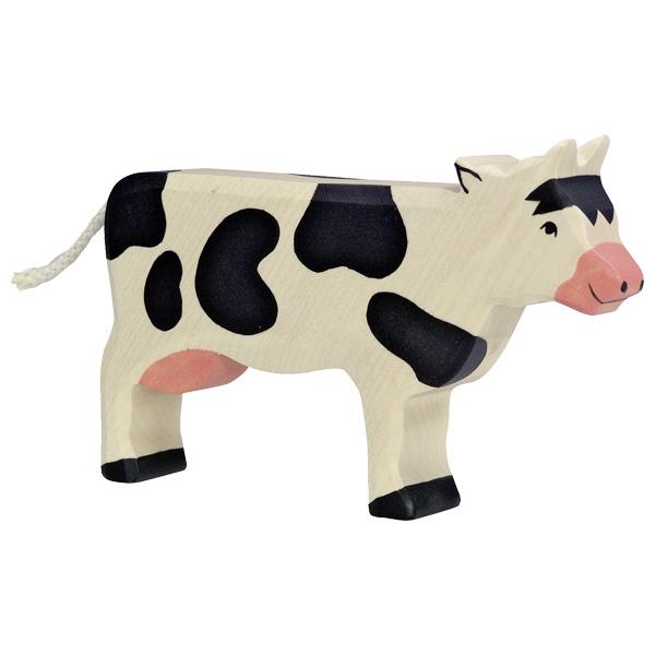 Holztiger Koe Zwart Vooruit Kijkend 80003 Boerderij Dieren Gras Onder Je Voeten Koe Huisdier Speelgoed Speelgoed
