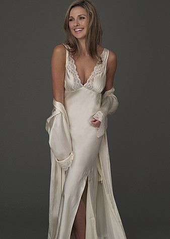 15629308f Perfect Indulgence Silk Gown - Long Nightgown with Lace