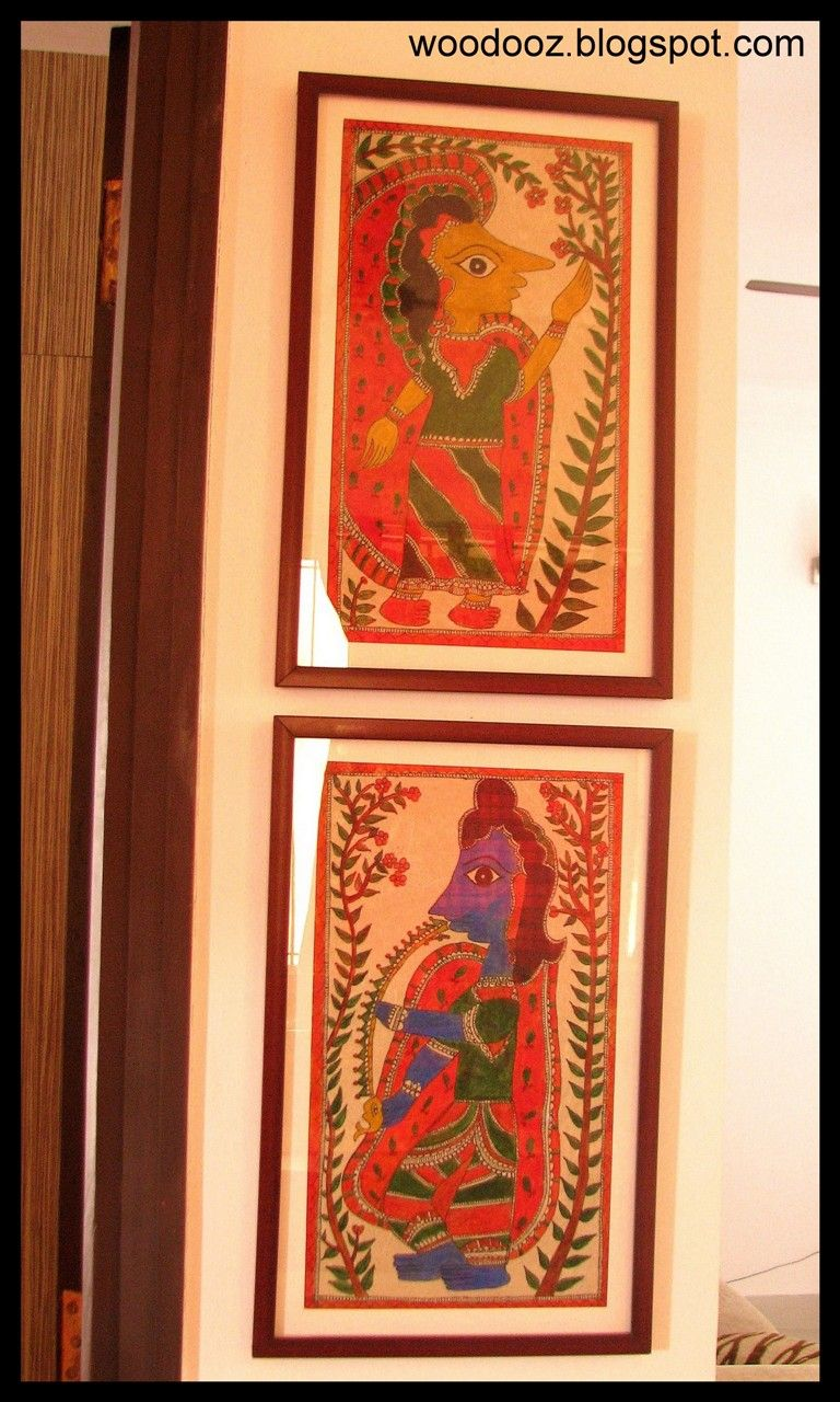 Madubani Wall Hanging - Madhubani painting or Mithila painting is a style of Indian painting, practiced in the Mithila region of Bihar state, India and the adjoining parts of Nepal