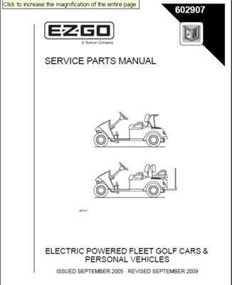 2009 Ezgo Rxv Parts Manual - Free User Guide •