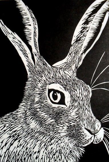 Hare Linocut Print on Etsy 8654 AUD  Printmaking I like