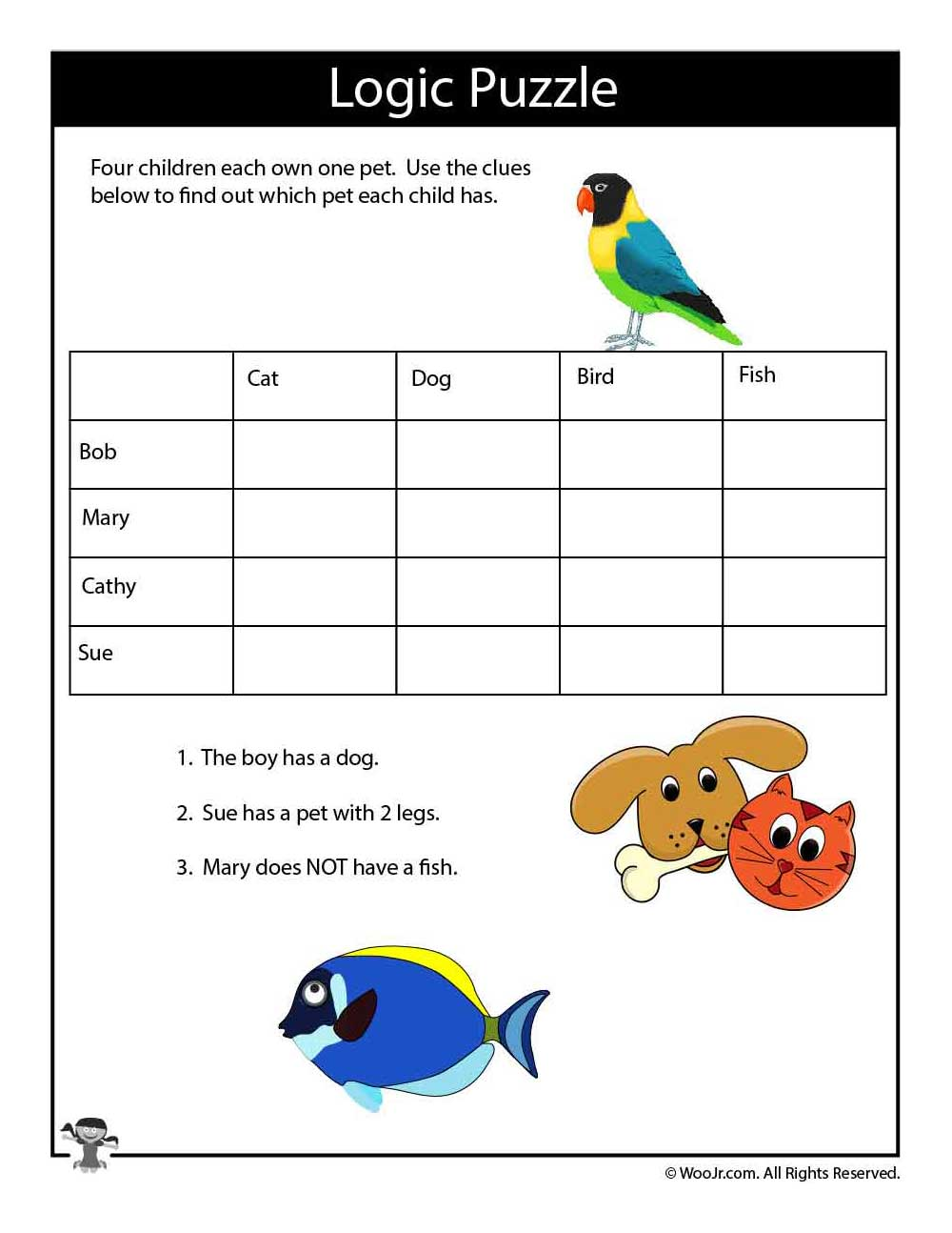 Animals Easy Logic Puzzle For Kids Woo Jr Kids Activities Easy Logic Puzzles Brain Teasers For Kids Math Logic Puzzles [ 1294 x 1000 Pixel ]