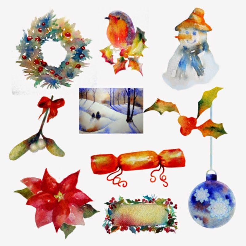 christmas clipart holiday clip art instant download watercolour rh pinterest co uk holiday clip art free downloads
