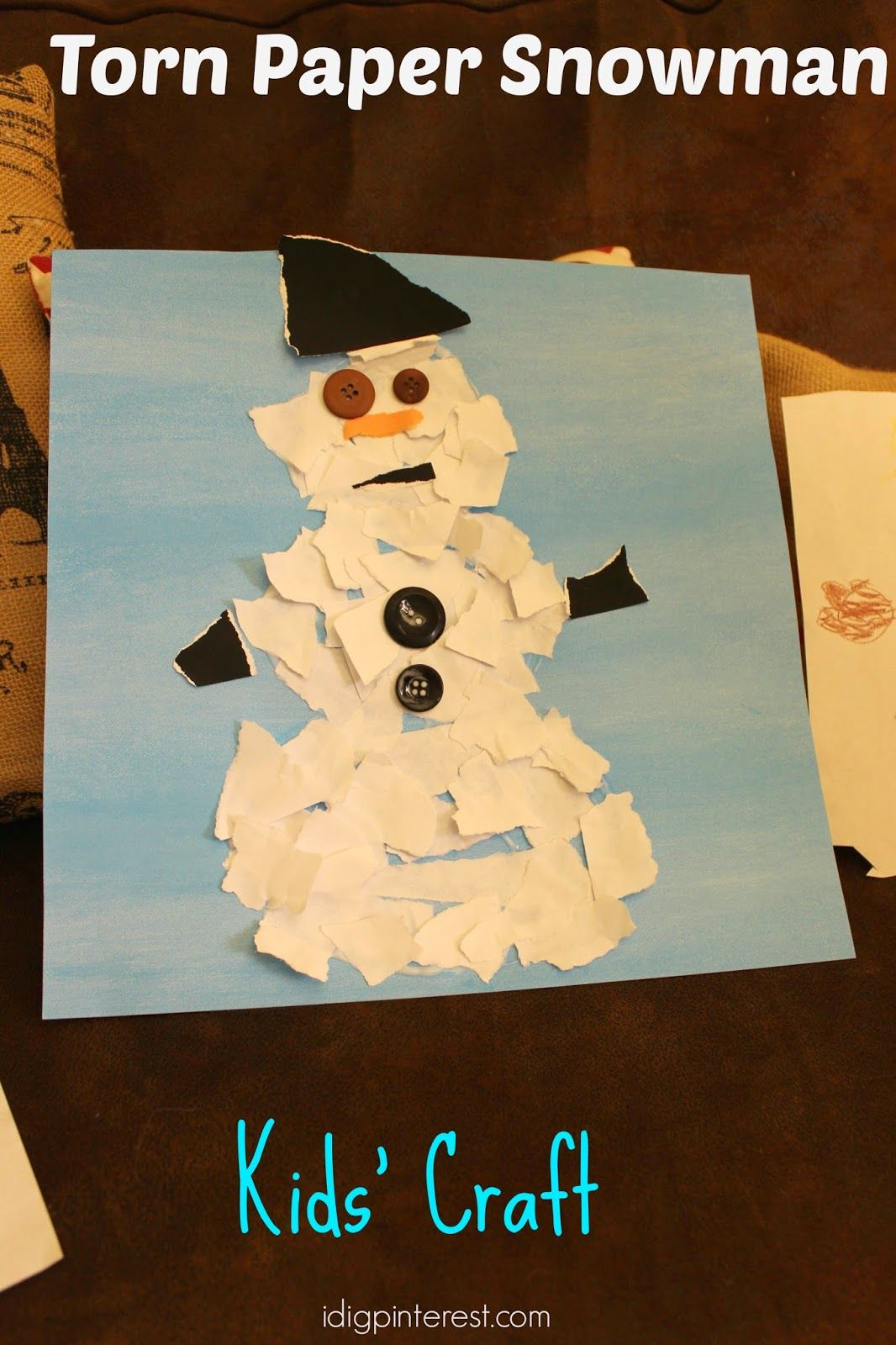 Torn Paper Snowman Kids' Craft and How to Easily Clean the Mess Afterwards! from idigpinterest.com