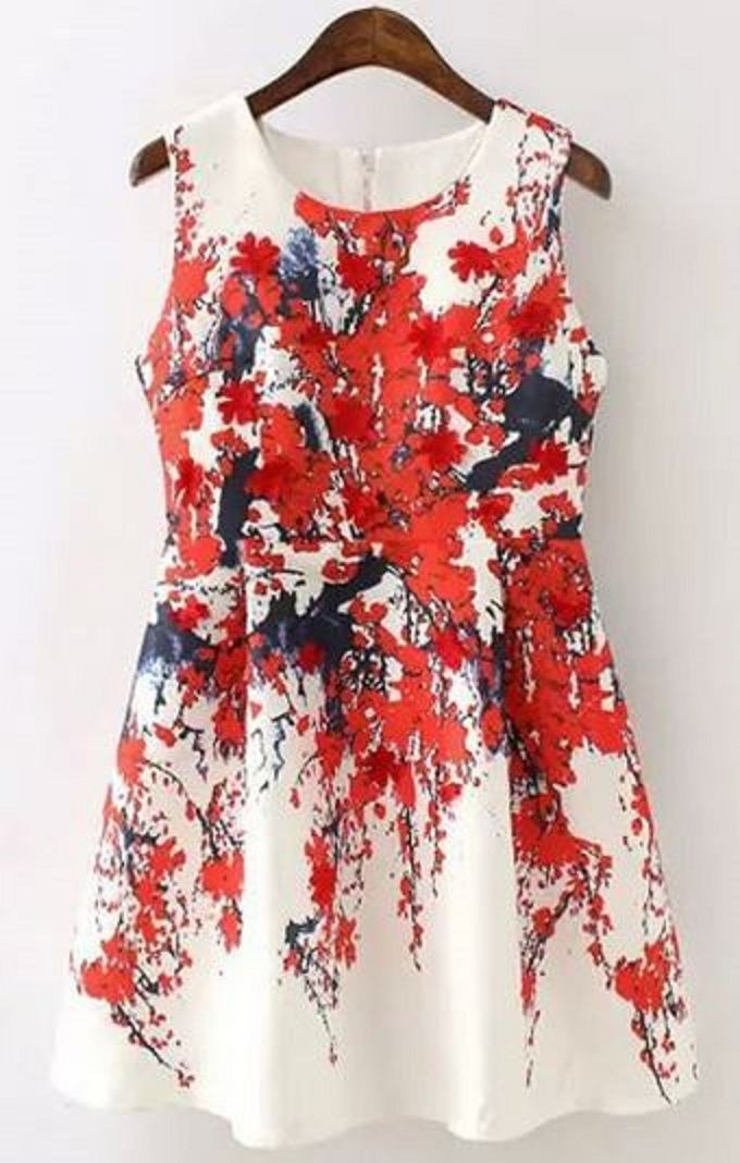 Plum Blossom Print Ruffled A-Line Dress #Plum