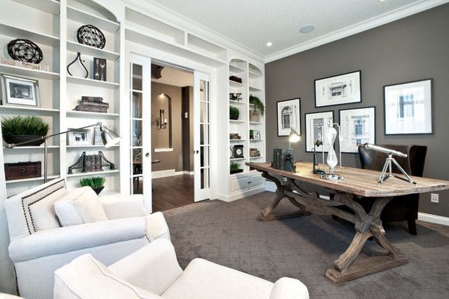 Delmar Lotto Home Contemporary Home Office Calgary I Could Finally Work From Home 3 Office Built Ins Home Office Design Guest Room Office