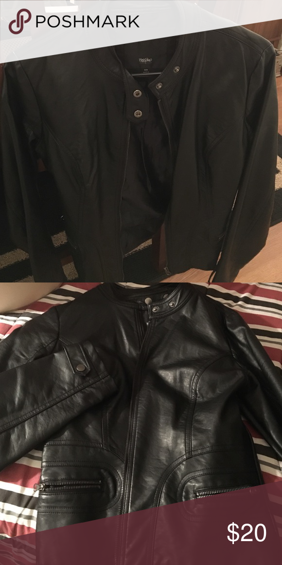 Ladies black leather jacket Seasonal, lightweight, ladies leather jacket. This is really a steal of a deal😘 great condition & lots of chic left in this jacket! 2 outside pockets, fully lined. Mossimo Supply Co Jackets & Coats Utility Jackets