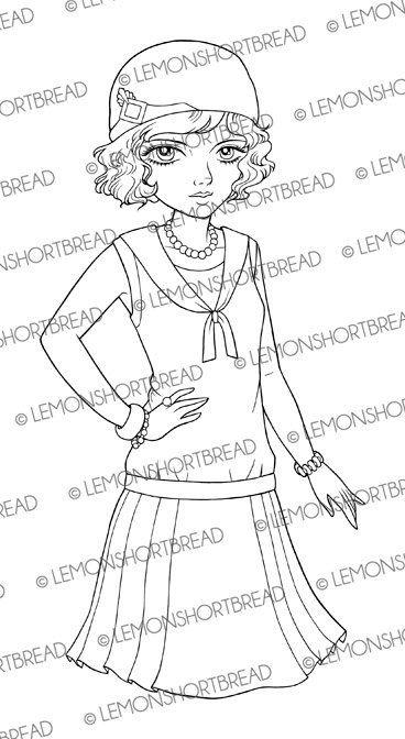 Digital Stamp Sassy Flapper Girl, Digi Download, Summer