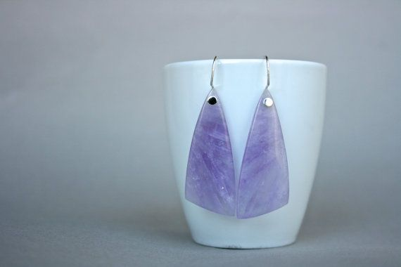 Amethyst Slice Earrings in Sterling by getawaygirl on Etsy