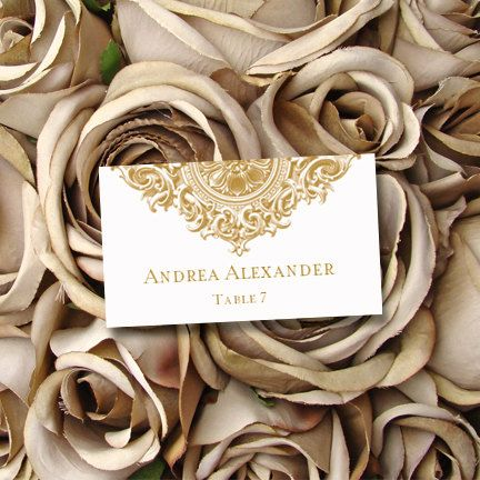 Printable Gold Place Card Template Brooklyn Wedding Or Anniversary