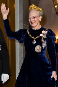 Queen Margrethe II of Denmark wearing the Naasut Demi-Parure given to her by the people of Greenland for her Ruby Jubilee
