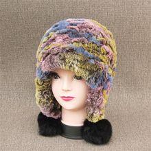 6193f745b7f74 Rex rabbit hair weaving cute women thicker warm ear protection ...