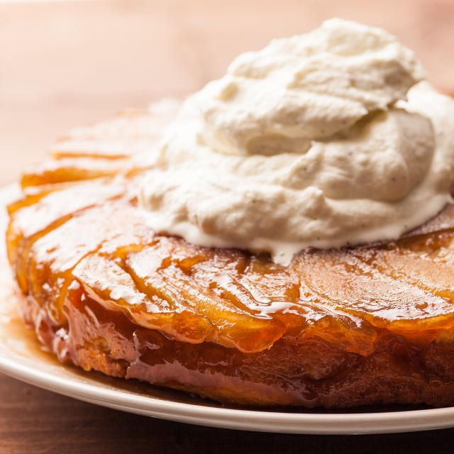 Apple Upside-Down Cake With Bourbon Whipped Cream