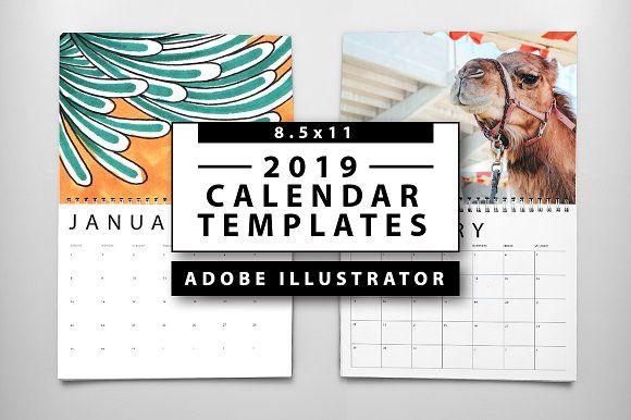 2019 Calendar Templates Template, Adobe illustrator and Adobe