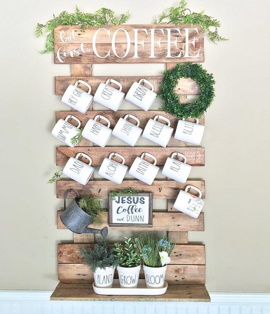 Diy Wall Mug Rack From Wood Pallet Coffee Mug Holder Diy Coffee Diy Mugs