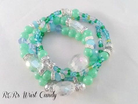 Blue and Green Beaded Bracelet Set by RandRsWristCandy on Etsy, $9.00