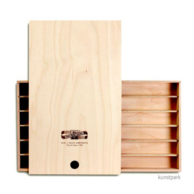 Koh-I-Noor Holzkasten mit Schiebedeckel und Facheinteilung