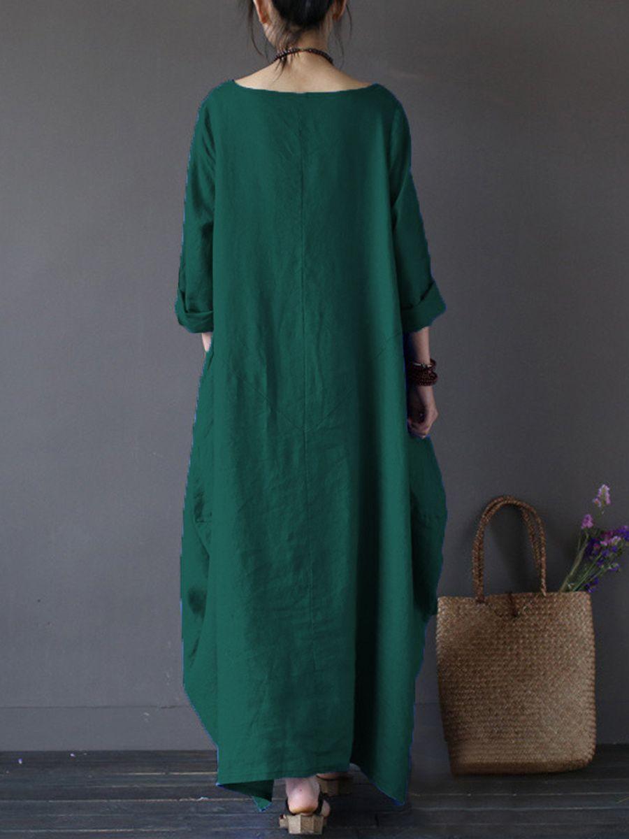 64cb6655ab0 Oversized Round Neck Pocket Plain Maxi Dress - fashionMia.com