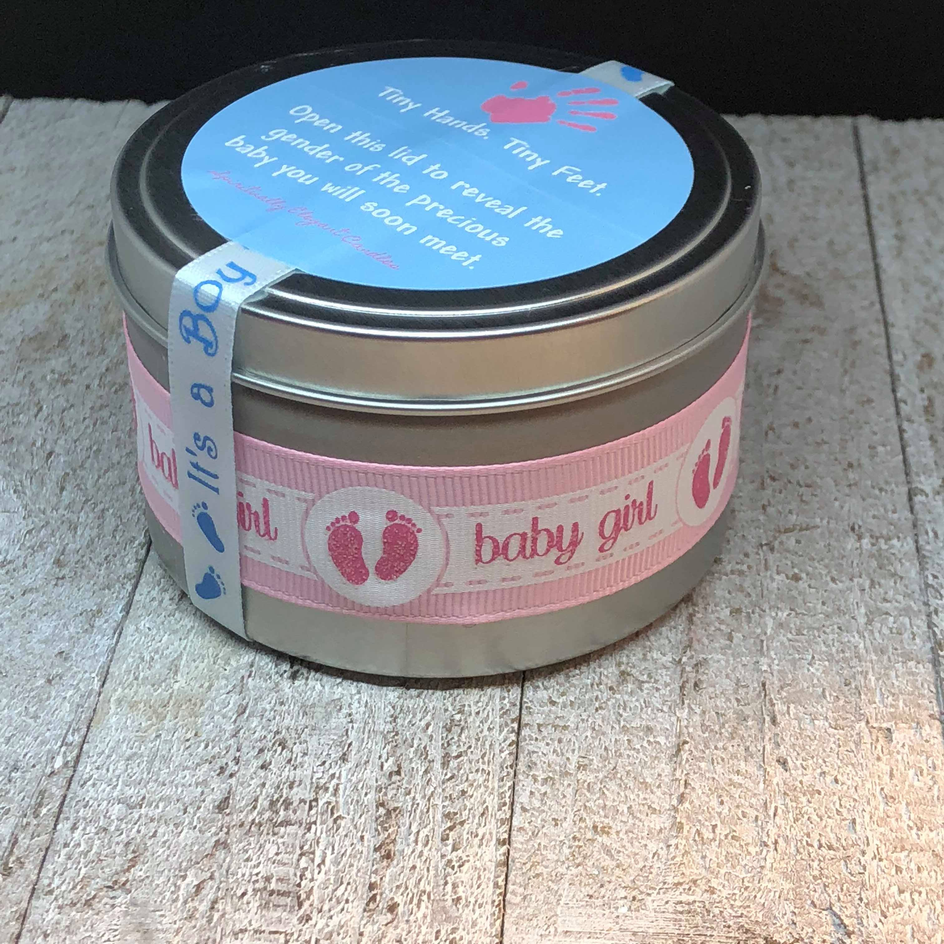 Gender Reveal Candle Baby Powder Scented Gender Reveal Candle Elegant Candles Pink Baby Girl