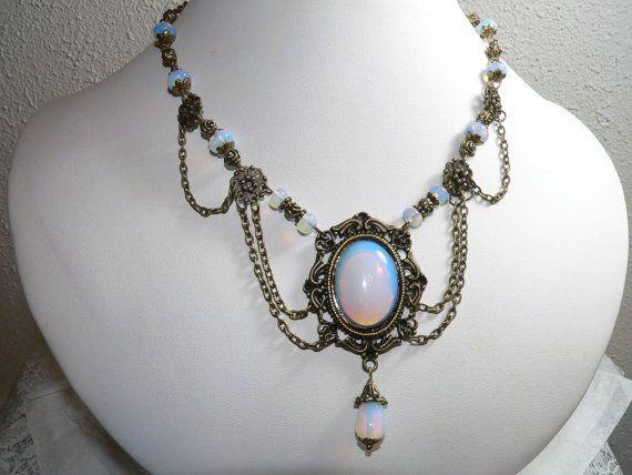 Opalite Vintage Style Antique Brass Statement Necklace  Unique style  #Handmade #Statement