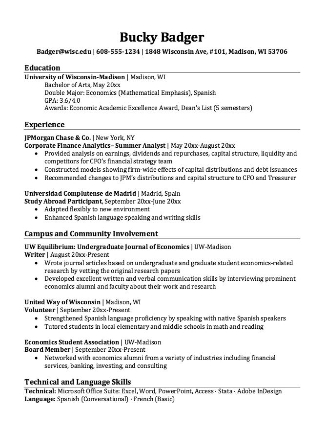Resume For Study Abroad Participant Free Resume Sample Economics Resume Resume Template Examples