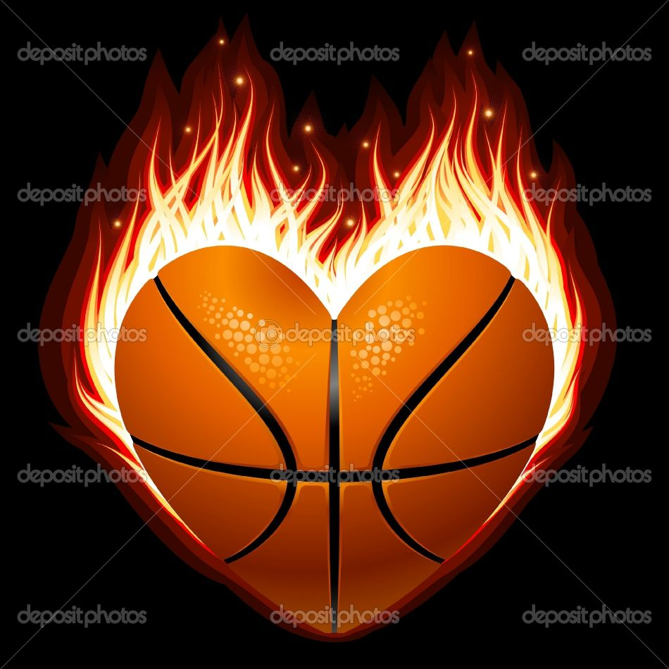 Vector Basketball On Fire In The Shape Of Heart Basketball Heart Basketball Love And Basketball
