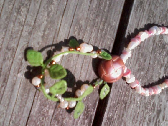 Upcycled pearlesque and shell necklace with by SpoonersMusings, $12.00