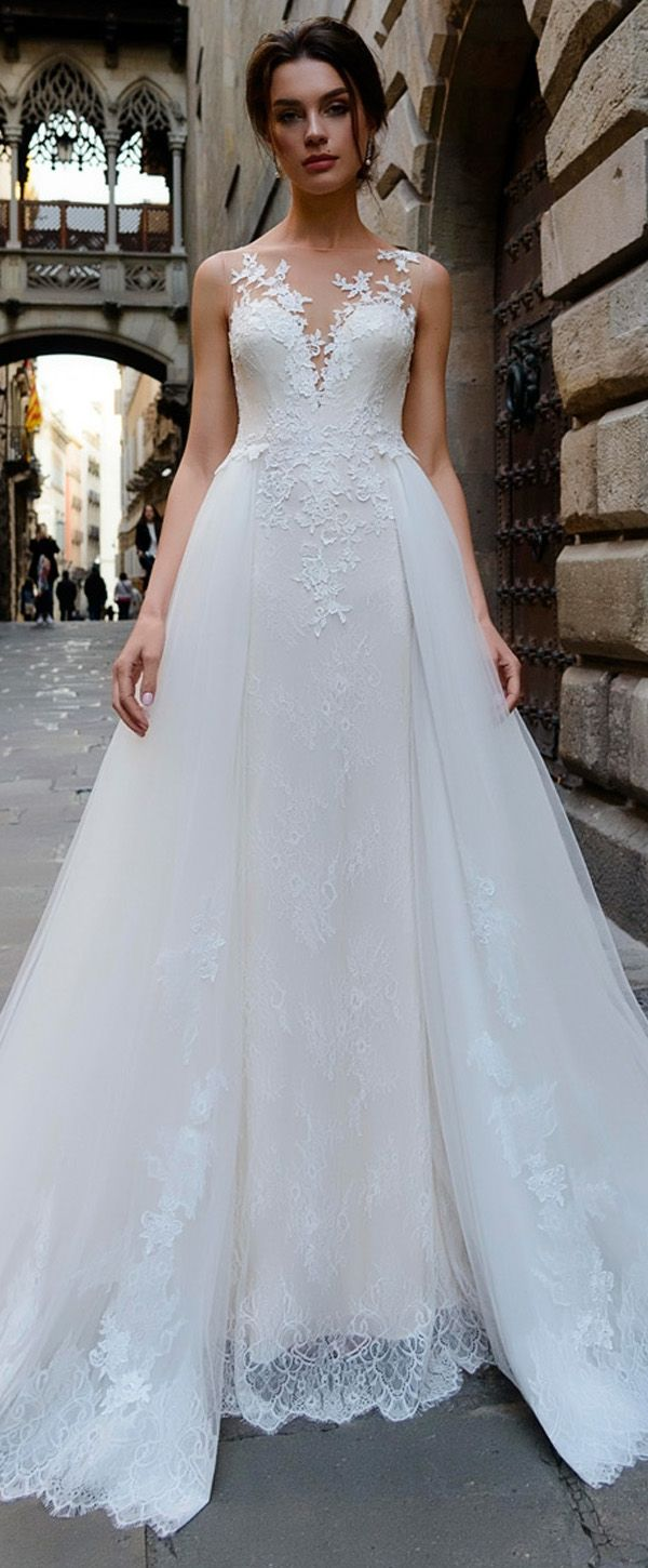 Stunning Tulle & Lace Bateau Neckline 2 in 1 Wedding Dress With Lace ...