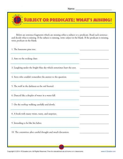 Subject Or Predicate What S Missing Printable Worksheet Subject And Predicate Worksheets Subject And Predicate Predicates Sentences and fragments worksheets