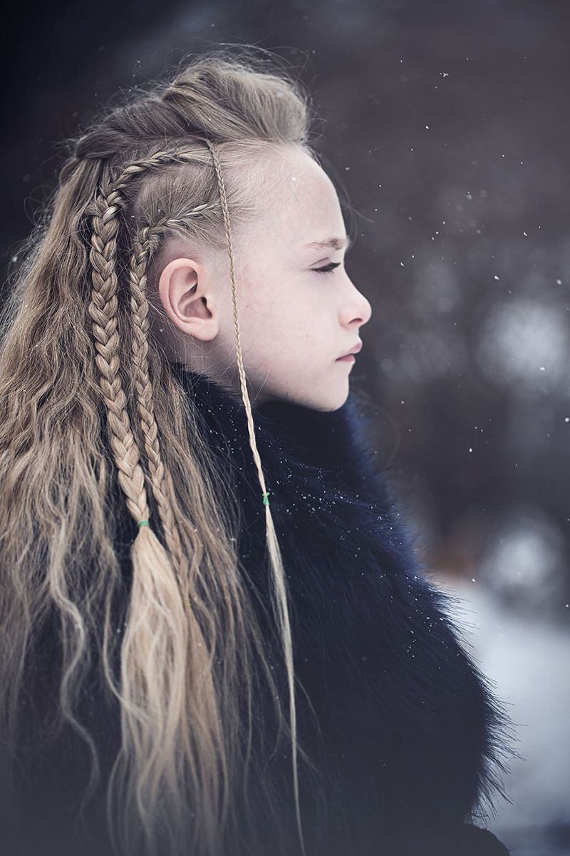 Vikings inspired braided long hair winter portrait Buffalo