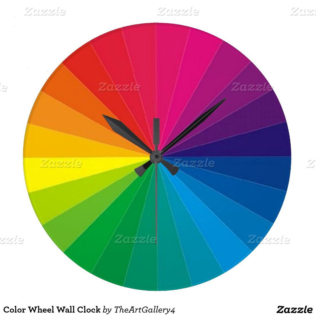 Color Wheel Wall Clock Zazzle Com Color Wheel Wall Clock Cool Clocks