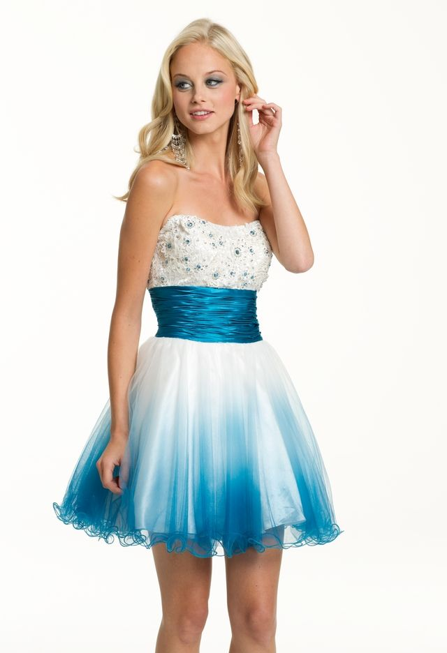 Prom Dresses 2013 - Short Ombre Strapless Prom Dress from ...