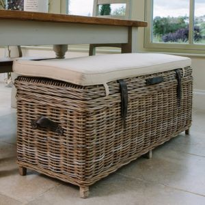 Wicker Storage Bench With Cushion Rustic Storage Bench Storage Bench With Cushion Rustic Storage