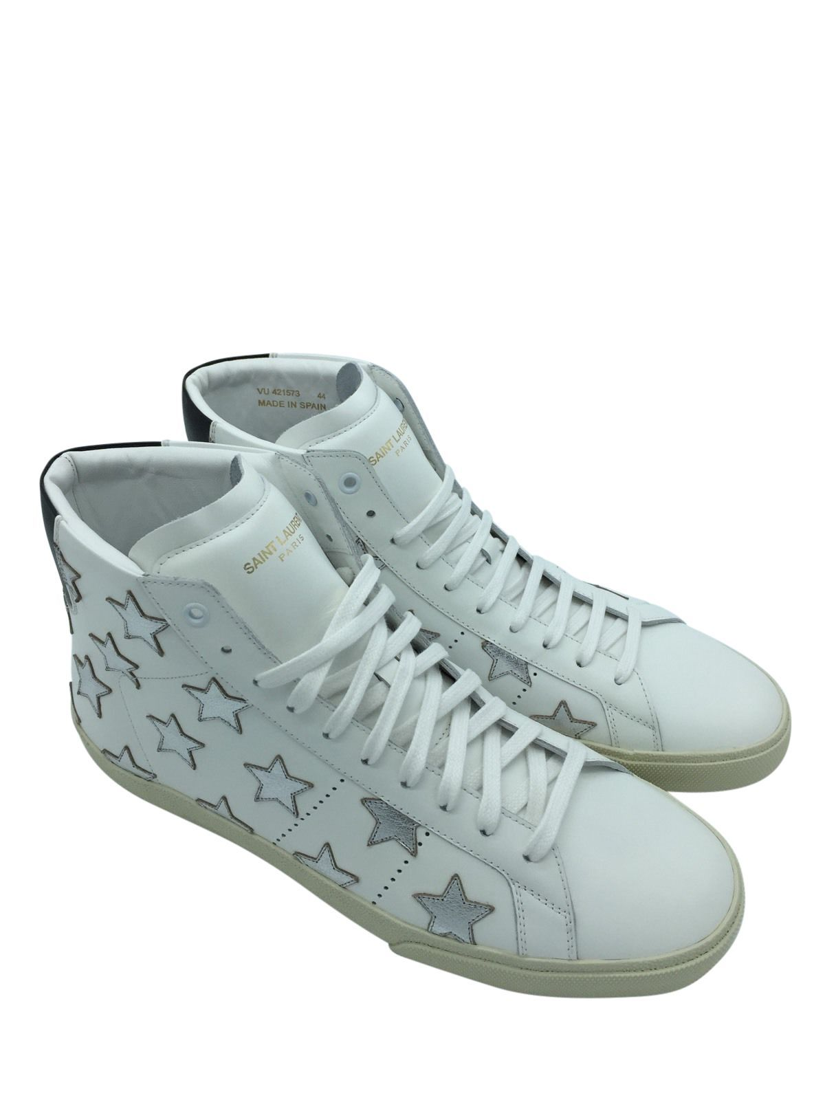 ce918ebda2434 YVES SAINT LAURENT Leather High-Top Sneaker with Metallic Stars ...