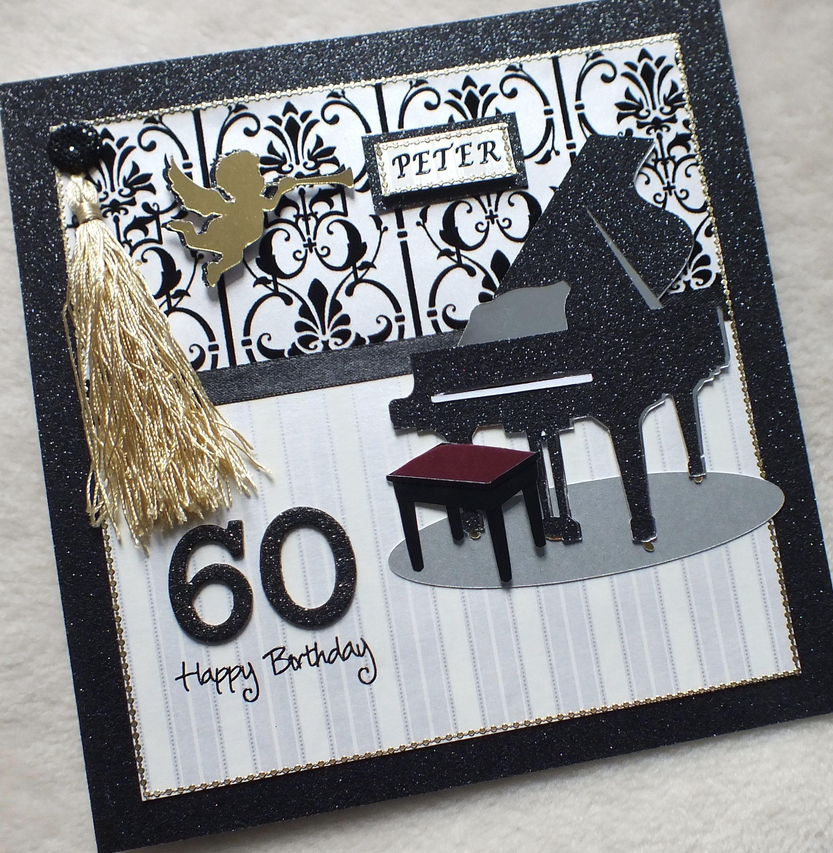 Luxury Bespoke Handmade Grand Piano Birthday Card Birthday Cards For Men Cards Handmade Birthday Cards