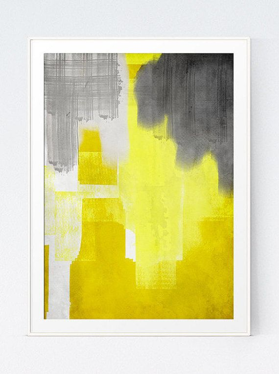 Yellow Grey Watercolor Painting Wall Art Abstract Original Printable ...