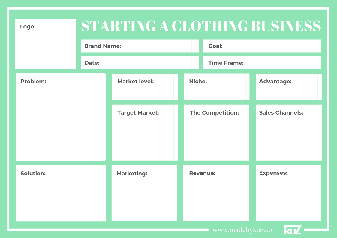 Starting A Clothing Business Worksheet Template