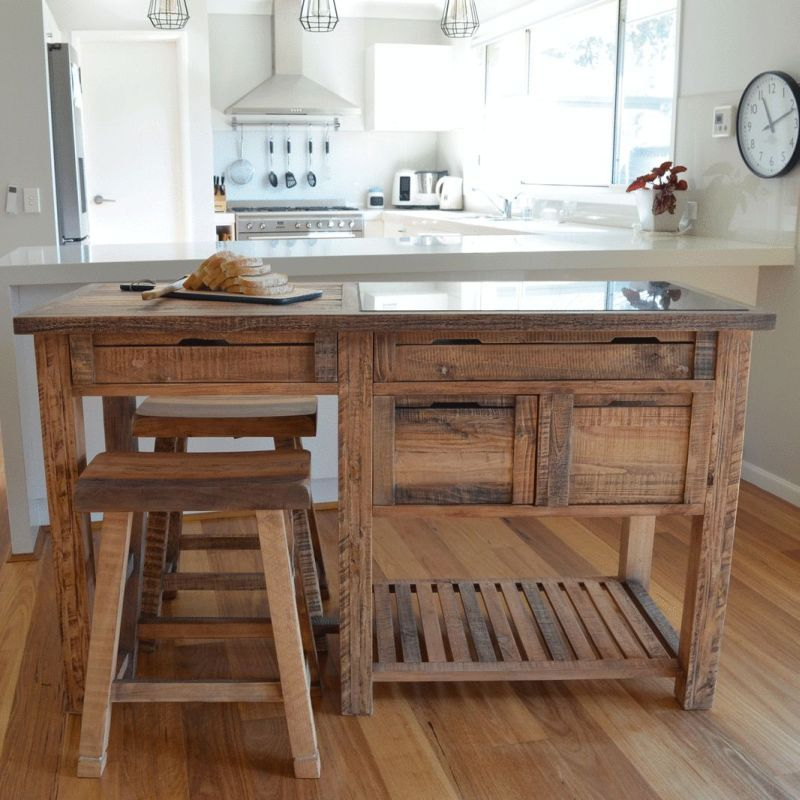 Reclaimed Timber & Marble Kitchen Island W Stools  Buy Kitchen Amazing Affordable Kitchen Islands Review