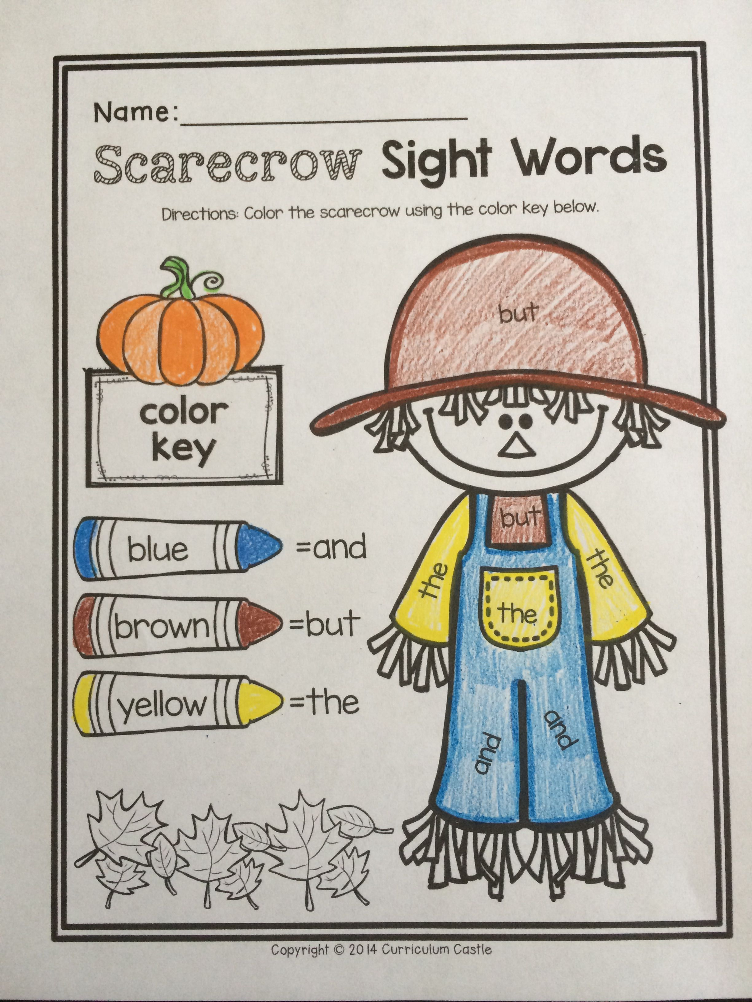 Kindergarten Halloween Harvest October Literacy Printables Color By Sight Word The And But