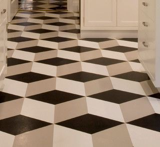 Los Angeles Congoleum Vinyl Flooring Vct This Artistic Installation Is A Solid Color In Black Gray And White Geometric Pattern
